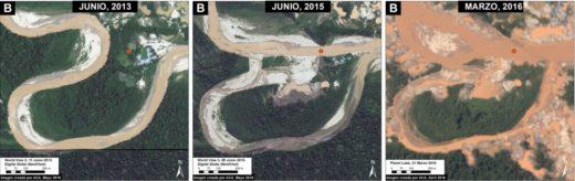 En estas tres imágenes se observa un mismo punto del río Malinowski que viene siendo alterado por la minería ilegal desde el 2013 hasta el presente año. Fuente: MAAP, Digital Globe, Planet Labs