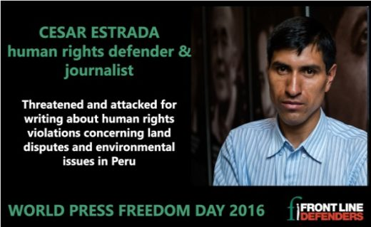 """La organización internacional """"Front Line Defenders"""" también ha reconocido la labor del periodista César Estrada en el Día de la Prensa Libre, el 3 de mayo. (Imagen: www.frontlinedefenders.org)"""