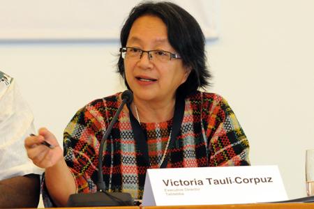 Victoria Tauli-Corpuz, Relatora Especial de Pueblos Indígenas de Naciones Unidas. Foto: Onamiap