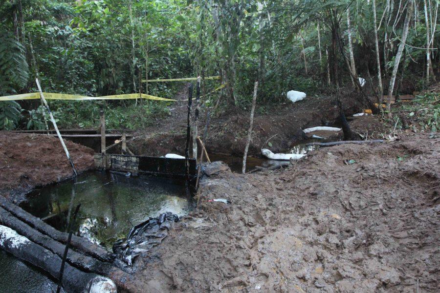 Barreras flotantes han sido colocadas en la corriente baja para detener el avance del aceite. Foto de Barbara Fraser.