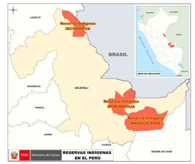 Ubicación geográfica d elas 3 primeras reservas indígenas del Perú. Mapa del Ministerio de Cultura.