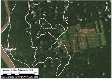 Imágenes satelitales del área deforestado de MAAP/Landsat/NASA/USGS.