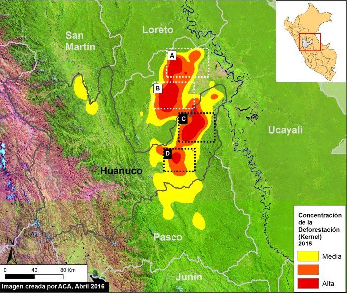MAAP #37. Deforestación en la región de Huánuco. Datos: UMD/GLAD.