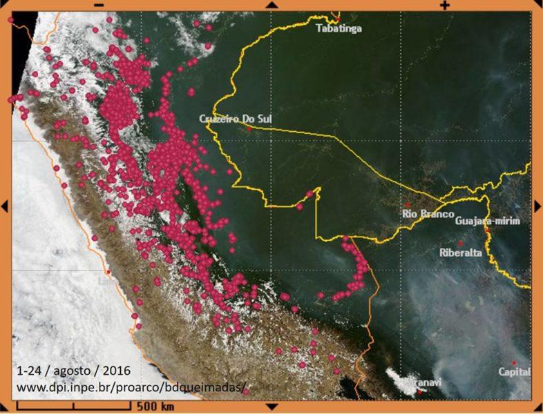 Solo en agosto, se han detectado en el Perú 1935 quemas e incendios. Foto Cortesía INPE-Brasil.