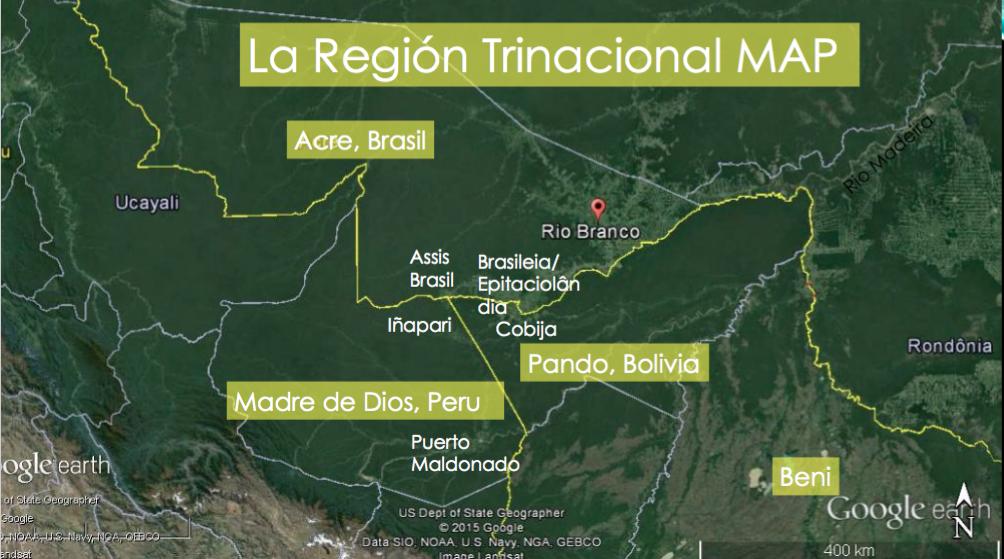 Mapa de los tres países que forman parte de la región trinacional MAP: Brasil (Acre), Bolivia (Pando y Beni) y Perú (Madre de Dios). Foto de Google maps.