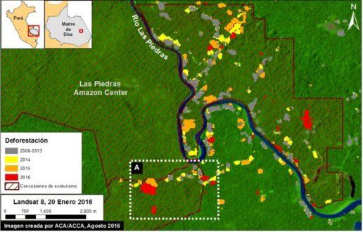 Las manchas rojas son el bosque deforestado. Imagen y datos: MAAP/UMD/GLAD, Hansen/UMD/Google/USGS/NASA, MINAGRI