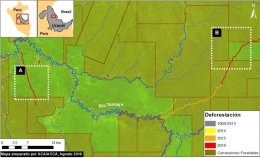 El bosque deforestado está coloreado de rojo. Imagen y datos: MAAP/ UMD/GLAD, Hansen/UMD/Google/USGS/NASA, MINAGRI