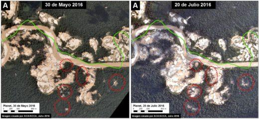 Desde abril el avance de la minería ilegal ha sido constante. Imágenes satelitales de MAAP.