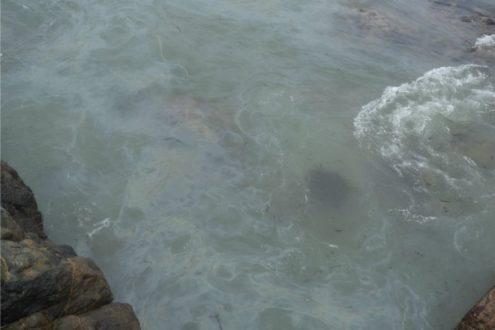 El agua del mar del Puerto de Ilo se ha vuelto turbia producto de la contaminación. Fotografía de la Municipalidad Provincial de Ilo.