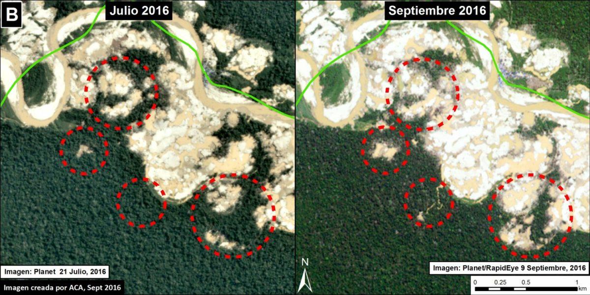 Avance de la deforestación en los últimos dos meses. Imagen de MAAP y datos de Planet, SERNANP.