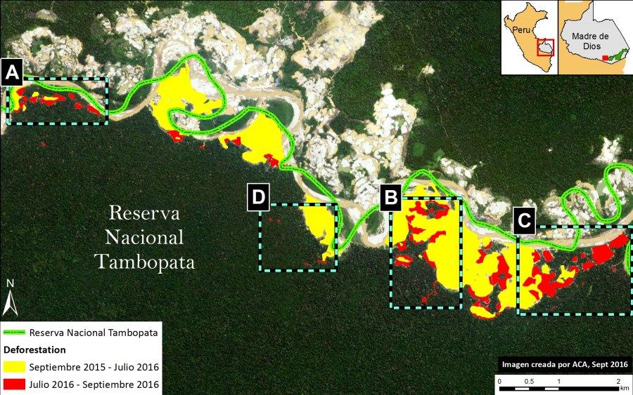 Imagen satelital de deforestación en la Reserva Nacional de Tambopata. Datos: Planet, SERNANP, MAAP