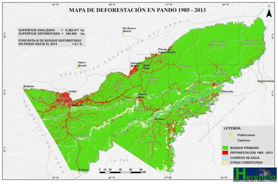 Según el último estudio realizado por Herencia, 345.465 hectáreas de territorio han sido deforestados entre 1985 y el 2013 en la región del norte amazónico. Mapa: Ong Herencia.