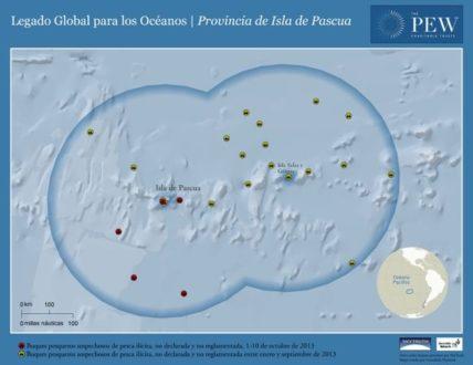 Mapa con embarcaciones sospechosas de pesca ilícita en los años 2012 y 2013. Imagen de PEW