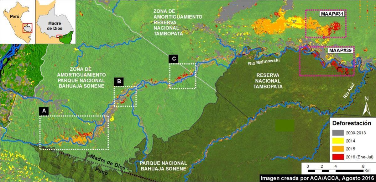 Deforestación en el Parque Nacional Bahuaja Sonene. Observar el margen inferior izquierdo. Imagen: MAAP. Datos: UMD/GLAD, Hansen/UMD/Google/USGS/NASA, NASA/USGS, SERNANP.