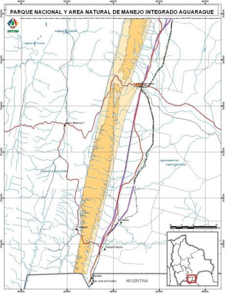 El mapa de la serranía en el Parque Nacional Aguaragüe. Foto: Sernap.
