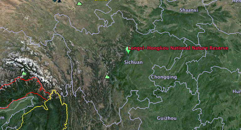 Longxi-Hongkou National Nature Reserve in Sichuan Province, China. Map Courtesy of Google Earth.