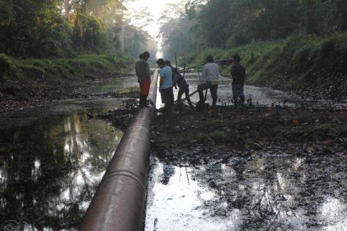 Los pobladores de la comunidad de Nueva Alianza, en el noreste de la Amazonía peruana, examinan uno de los dos puntos en los derrames de petróleo ocurridos el 21 de agosto. Petroperú, la compañía petrolera estatal que opera el gasoducto, ha atribuido los derrames a vandalismo. Foto de Barbara Fraser.