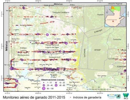 """Los incendios en el Parque Nacional Laguna del Tigre van seguidos de la construcción de potreros para introducir ganado, una práctica que se ha atribuido a los llamados """"narcoganaderos"""" que acaparan terreno protegido con el fin de expandir su área de influencia. Este mapa fue elaborado por CONAP en base a sobrevuelos al área. FUENTE: Gobierno de Guatemala/CONAP/WCS"""