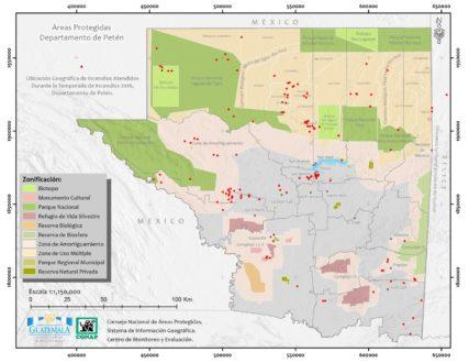 CONAP atendió 179 incendios en toda la RBM entre febrero y junio de 2016. En total ardieron 16000 hectáreas, la mayor parte en el Parque Nacional Laguna del Tigre. FUENTE: CONAP