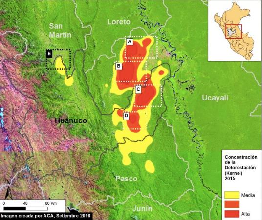 Imagen satelital de la deforestación en la selva central. Mapa: MAAP/ UMD/GLAD