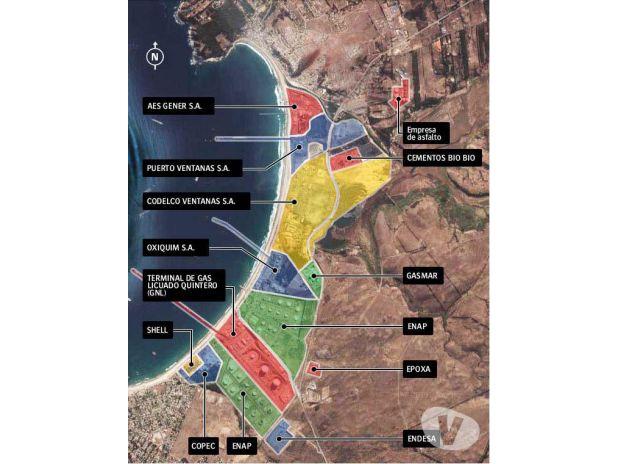 Actualmente, 14 empresas funcionan en el borde costero de Ventanas. El parque industrial incluye cuatro termoeléctricas a carbón, fundiciones de cobre, cementeras, puertos graneleros, concentrados de cobre y petroleras. Mapa: Codelco para para R35R.