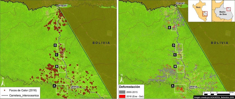 Deforestación alrededor de la carretera Inambari. Datos: UMD/GLAD, Hansen/UMD/Google/USGS/NASA, USGS/NASA, INPE