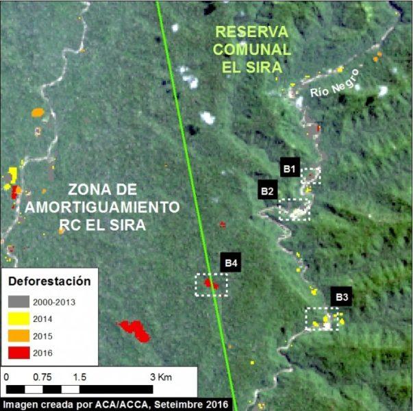 Deforestación en la cuenca del río Negro en la Reserva Comunal El Sira por minería ilegal. Datos: UMD/GLAD, Hansen/UMD/Google/USGS/NASA, USGS/NASA, SERNANP.