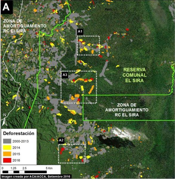 Deforestación en la Reserva Comunal El Sira por pequeña agricultura migratoria. Datos: UMD/GLAD, Hansen/UMD/Google/USGS/NASA, USGS/NASA, SERNANP.