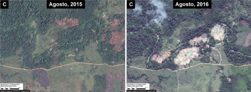 Deforestación en Reserva Comunal El Sira. Imagen: MAAP/Digital Globe (Nextview).