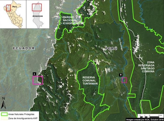 Cuadro A es la zona de explotación de la minera Afrodita y en el cuadro B el de la minería ilegal en la quebrada Pastazio en el río Santiago en la región de Amazonas. Imagen: MAAP/Sernanp.