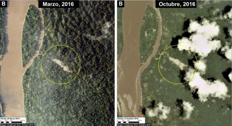 Deforestación por minería ilegal en el río Santiago. Imagen: MAAP/Planet.