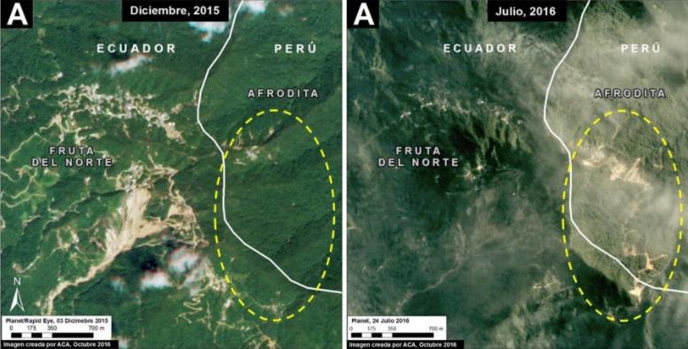 Deforestación por actividad de la minera Afrodita. Imagen: MAAP, Planet.