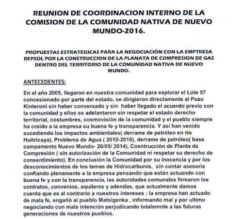 Comienzo del documento dirigido a las autoridades peruanas.