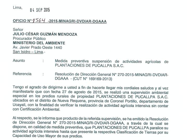 Orden de paralización de trabajo del Gobierno peruano a Plantaciones de Pucallpa.