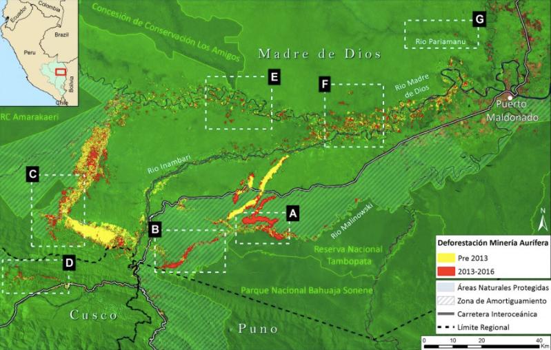 Las 7 zonas deforestadas en las 3 regiones. Imagen: MAAP y ACCA.