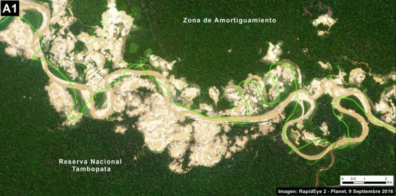 Deforestación en la Reserva Nacional de Tambopata. Imagen: MAAP/ACCA.