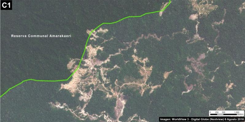 Deforestación en la Reserva Comunal Amarakaeri. Imagen: MAAP/ACCA.