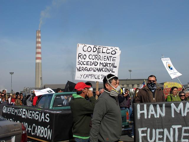 Protestas por la contaminación de Codelco en Chile. Foto: El Mostrador.