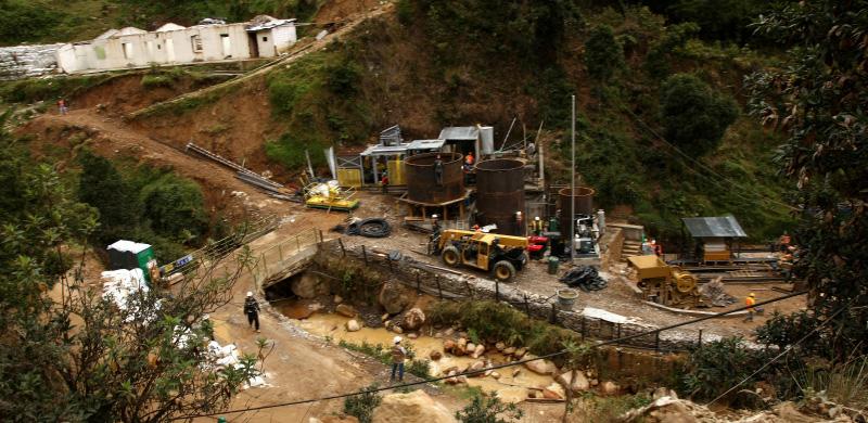 Instalaciones de la minera Eco Oro en Colombia. Foto: Revista Semana.