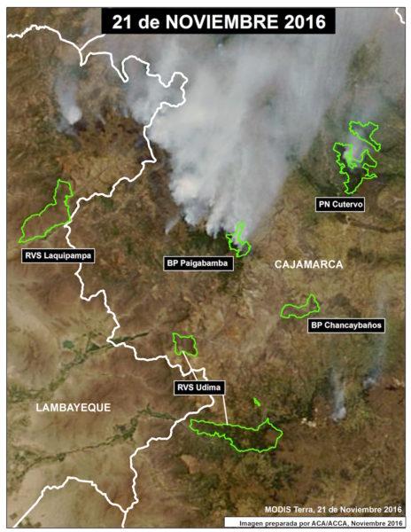 Imagen satelital de los incendios producidos en las áreas naturales protegidas ubicadas al norte del Perú. Foto: Cortesía Conservación Amazonica-ACCA.