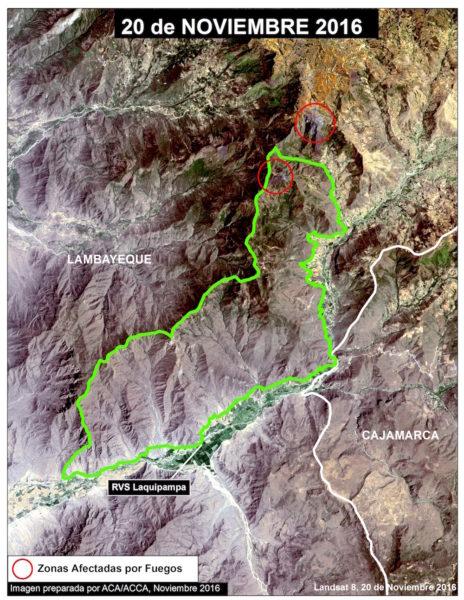Imagen satelital de los incendios producidos en el Refugio de Vida Silvestre Laquipampa. Foto: Cortesía Conservación Amazonica-ACCA.