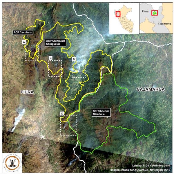 imágenes satelitales de las áreas de conservación privadas y ambientales que son afectadas por el fuego. Foto: Conservación Amazónica - ACCA , Amazon Conservation Association - ACA y Planet.
