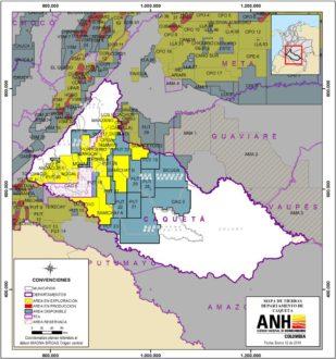 Mapa de enero del 2016. Fuente: Agencia Nacional de Hidrocarburos de Colombia.