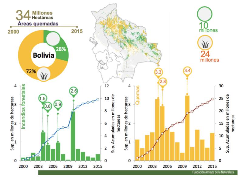 Análisis de incendios forestales. En verde son los incendios en zonas boscosas y en amarillo en las zonas no boscosas como las sabanas. Gráfico: Fundación Amigos de la Naturaleza.