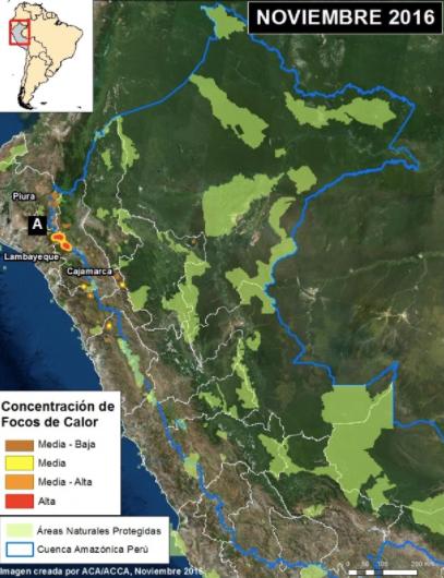 Área de impacto a nivel nacional de los incendios forestales. Imagen: MAAP/VIIRS/INPE, SERNANP.