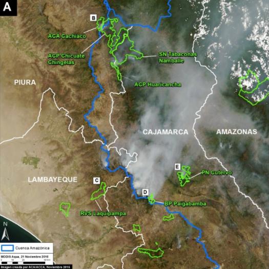 Áreas protegidas impactadas por los incendios forestales. Imagen: MAAP/MODIS/NASA, SERNANP, NCI.