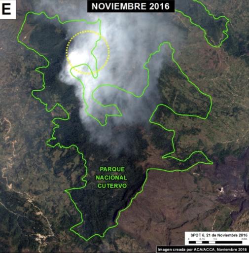 Área afectada en el Parque Nacional de Cutervo. Imagen: MAAP/SERNANP, Airbus, VIIRS/INPE.
