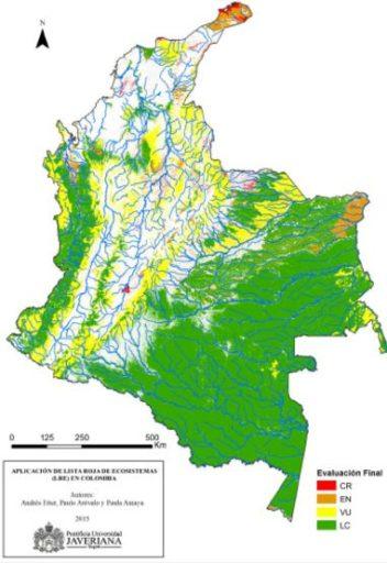 Colombia es uno de los países que más ha avanzado en la implementación de los criterios para la definición de la Lista Roja de los Ecosistemas (LRE), una de las prioridades que ha identificado la Unión Internacional de Conservación de la Naturaleza. Criterios de evaluación del riesgo en el mapa: peligro crítico (CR), en peligro de extinción (EN), vulnerable (VU) y menor preocupación (LC). Imagen de UICN.