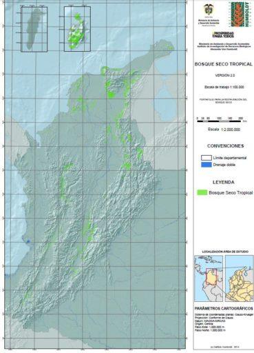 Áreas de Bosque Seco Tropical en Colombia. Mapa del Instituto Humboldt, 2014.