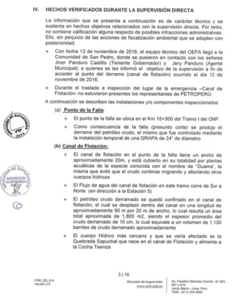 Sección IV del documento del OEFA. Imagen: Fragmento del OEFA.